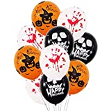 Wootkey 50 Pcs Halloween Balloons Decorations - 12 Inches Pumpkin Bat Specter Spider Web Latex Balloons for Halloween Party Supplies