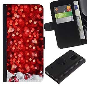 Paccase / Billetera de Cuero Caso del tirón Titular de la tarjeta Carcasa Funda para - Snow Christmas Tree Glitter Winter - Samsung Galaxy S5 V SM-G900