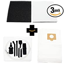 3 Replacement Kenmore 11622613204 Vacuum Bags & 3 Foam Filter with 7-Piece Micro Vacuum Attachment Kit - Compatible Kenmore 50558, 5055, 50557, Type C Vacuum Bags & 20-86883, CF-1 Filter