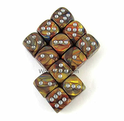 正規品販売! WCX27893E12 Gold Gold Lustrous Dice with Silver Pips with D6 Silver 12mm (1/2in) Chessex B00VWWREDG, スントウグン:ac9e7d72 --- egreensolutions.ca