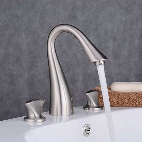 Ollypulse Solid Brass Three Holes Double Knobs High Arc Widespread Bathroom Sink Faucet, Brushed Nickel Finished (8 Inch Widespread Gooseneck Lavatory Faucet)