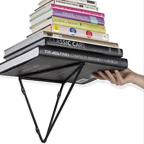 Wallniture Prismo Set of 4 Multipurpose Wall Mount Extra LARGE Prism Brackets for Floating Shelf - Bookshelf - DIY Book Display Shelving Triangle Wrought Iron Metal Black