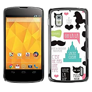 PC/Aluminum Funda Carcasa protectora para LG Google Nexus 4 E960 Pussy Cat Poodle Paris French France Love / JUSTGO PHONE PROTECTOR