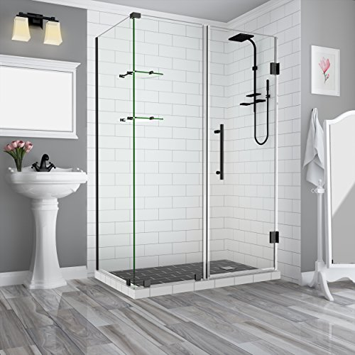 Aston SEN962EZ-ORB-612338-10 Bromley GS Frameless Hinged Shower Enclosure with StarCast Clear Glass and Shelves, 60.25