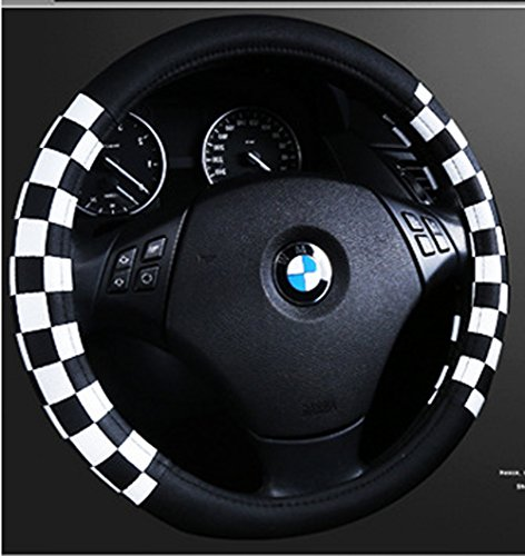 Finex PU Leather Checker Flag Black & White Car Steering Wheel Cover