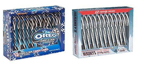 LIMITED EDITION Holiday Candy Cane Variety Bundle - One Box Each of 5.3 oz Hersheys Chocolate Mint Flavor and Oreo Cookies & Crème Candy Canes -