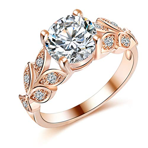 Wedding Crystal Silver Color Rings Leaf Engagement Gold Color Cubic Zircon Ring Fashion New Brand Bijoux