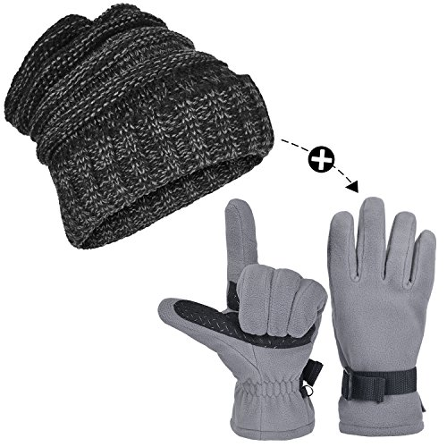 Cable Knit Beanie and Winter Gloves Set for Men/Women, ODOLAND Warm Winter Hat Unisex Beanie with Waterproof Snow Ski Gloves for Winter Snow Sports, Skiing Skating Snowboarding (Ski Gloves Hats)