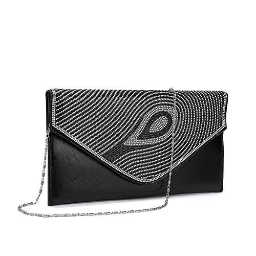 Peng Fang Women Evening Envelope Rhinestone Handbag Party Bridal Clutch Purse(Black) (Link Shoulder Bag Black Leather Chain)