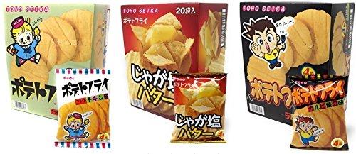 동풍제과 포테이토 플라이 【3종 세트】fried 치킨&쟈가염 버터&갈비 구이 각11g×20 포합계60 포