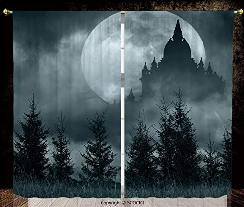 Thermal Insulated Blackout Window Curtains/Rod Pocket Window Drapes Panel/for Bedroom Living Room Dorm Kitchen Cafe/2 Curtain Panels/108 x 95 Inch/Halloween,Magic Castle Silhouette over Full Moon -