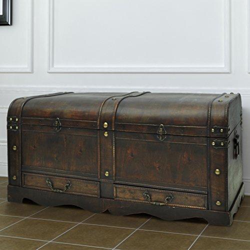 Festnight Vintage Storage Chest Large Wooden Treasure Chest,Brown ()