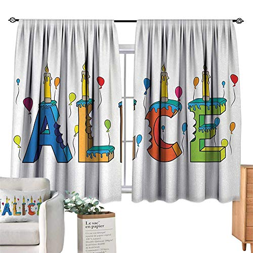 RuppertTextile Insulated Sunshade Curtain Alice,Colorful Girl Name with Balloons Bitten Letters Candles Cartoon Style Illustration,Multicolor for Living, Dining, Bedroom (Pair) 55