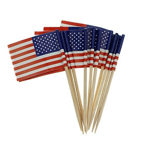 Flag American Small (Bilipala American Flag Cupcake Toppers Picks for Party Decorations Supplies, Toothpick Flags, 150 Counts)