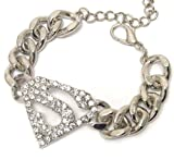Superman Supergirl Bracelet Chunky C19 Clear Crystal Luxury Plating