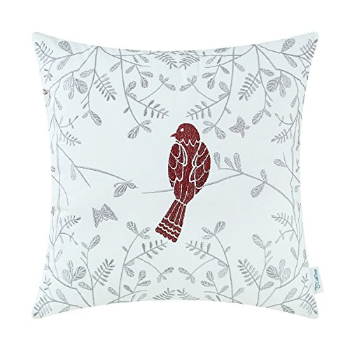 CaliTime Cotton Throw Pillow Case Cover Bed Couch Sofa Cute Bird in Gray Garden Embroidered 18 X 18 Inches -