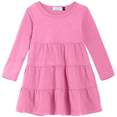 Arshiner Girls' Super Soft Cotton Long Sleeve Tiered Dress, Pink, 120(Age for 5-6Y)