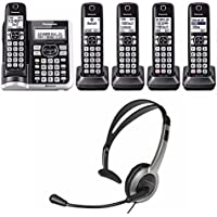 Focus Camera Panasonic KX-TGF575S Link2Cell BluetoothCordless Phone with Voice Assist and Answering Machine - 5 Handsets + KX-TCA430 Foldable Headset