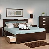 Hawthorne Collections Queen Platform Storage Bed in Espresso