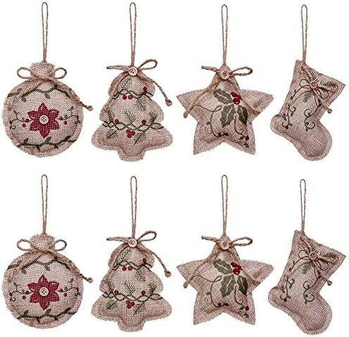 Yosichy Rustic Christmas Tree Ornaments Stocking Decorations Burlap Country Christmas Stocking Ball Tree Bell With Red And Green Holly Leaves For Holiday Party Decor 8pcs Home Kitchen Amazon Com