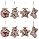 country christmas decorations YOSICHY 2019 Rustic Christmas Tree Ornaments Stocking Decorations Burlap Country Christmas Stocking Ball Tree Bell with Red and Green Holly Leaves for Holiday Party Decor-8PCS