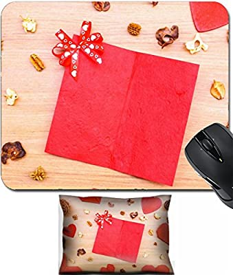 MSD Mouse Wrist Rest and Small Mousepad Set, 2pc Wrist Support design 36064524 Red heart shape paper on wooden table with copy space vintage style