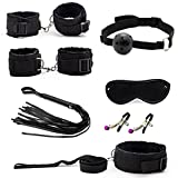 7 Pcs Bondage Set Cotton Red,BDSM Restraint Sex Toys for Couple Handcuffs Sexy Mark Whip Collar for Adult Slave Game Sex Product Black