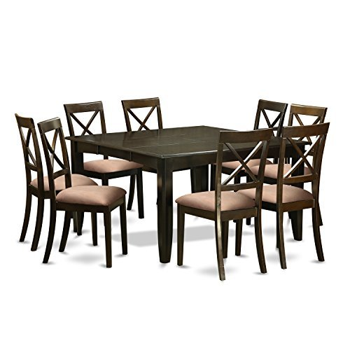 East West Furniture PFBO9-CAP-C 9Piece Dining Room Set for 8-Kitchen Table with Leaf & 8 Microfiber Upholstery Seat Dinette (Square Table Seats 8)