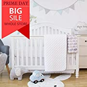 TILLYOU 4 Pieces Microfiber Crib Bedding Set (Quilt, 2pcs Crib Sheets, Crib Skirt) - Grace Herringbone Nursery Bedding Set - Baby Shower Gift and Registry Essentials