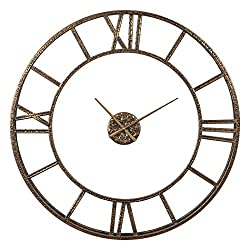 My Swanky Home Large Hammered Gold Open Metal Wall Clock | Bronze Textured Contemporary 36