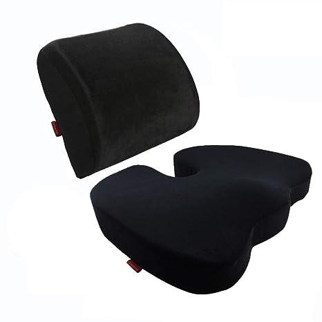 Curious Fish Memory Foam Seat Cushion Lumbar Back Support Pillow Lumbar Respaldo Almohada Cojín terapéutico Ortopédico Ergonómico Espuma Memoria ...