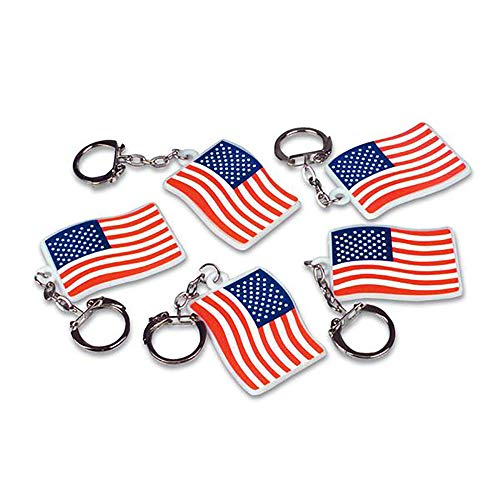 """(Kicko 2"""" USA American Flag Keychains – 144 pieces White Stars and Stripes Flag, Handy Bag Accessories, July 4th Gift Ideas, Banner-Theme, Homeland Pride, Car Key Holder, Going Away Present, Merchandise Item)"""