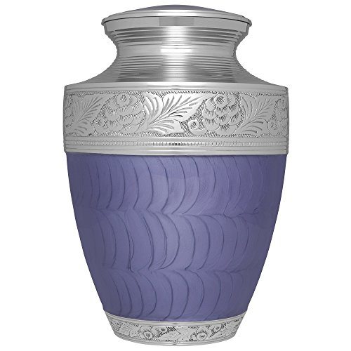 Funeral Urn by Liliane-Cremation Urn for Human Ashes-Hand Made in Brass, Purple Hand-Enamel and Floral Top Motif-Display Burial Urn at Home or in Niche. Fits cremated remains of adults (Verona - Urn Top