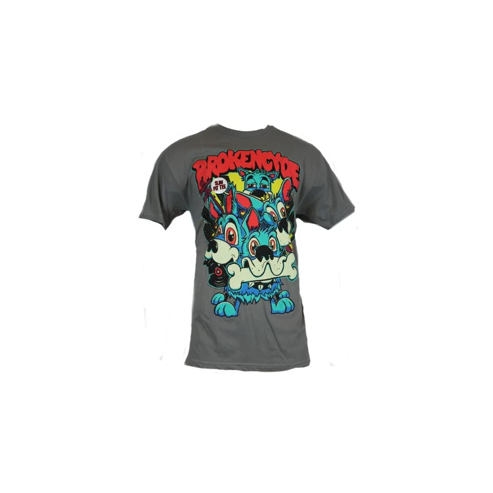 Brokencyde Mens T Shirt   Puppy Power Blue Dog Pack Image on Gray Clothing