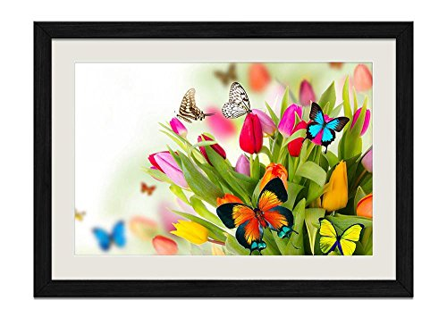 CU.RONG Butterfly Gardens Wood Frame Poster Home Art Deco Picture Print Framed Painting(12x16 in Black Frame) (Garden Print Butterfly Framed)