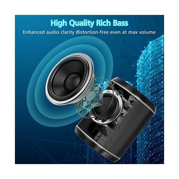 Cocoda Enceinte Bluetooth Portable, Mini Haut Parleur Sans Fil avec Sonore Stéréo, Basses Puissantes, Technologie TWS, Portée Bluetooth 18M, Support AUX/Carte TF, Étanche IPX6 Enceintes pour Extérieur 3