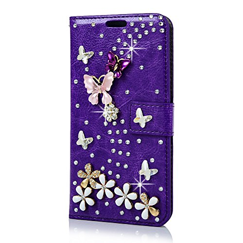 (Not for S7 Edge) S7 Case,Galaxy S7 Case,Maviss Diary 3D Handmade Wallet with Bling Crystal Shiny Diamonds Butterfly Flowers PU Leather Flip Cover - Purple