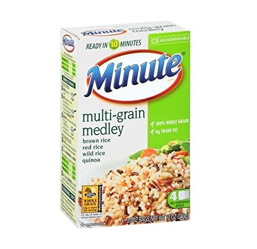 Minute Multi-Grain Medley Brown Rice Red Rice Wild Rice Quinoa 12 OZ (Pack of 12) by Minute