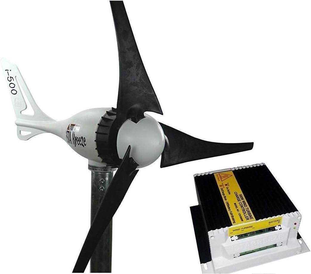 Set 24v 500w molino de viento generador + regulador de carga, viento turbina ista- energía eólica (negro)