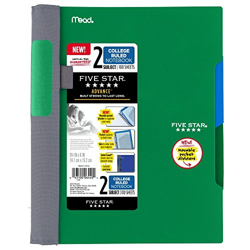 Five Star Advance Spiral Notebook-Medium Size, 2 Subject, College Ruled, 9.5 x 6 Inch, Green (73160)