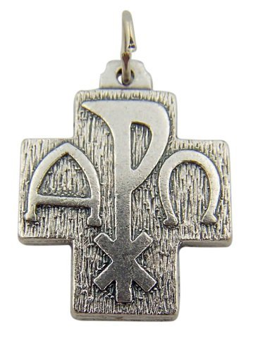 Chi Rho Alpha Omega 3/4 Inch Zinc Alloy Pendant Christian Cross Christogram Medal ()