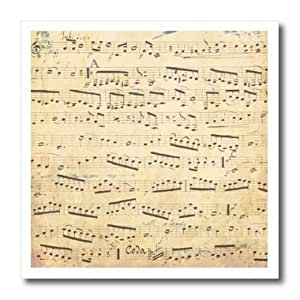 """3dRose ht_120273_3 Grunge Musical Notes Vintage Sheet Music Yellowed Piano Notation Pianist & Musician Gifts Iron on Heat Transfer, 10 by 10"""", For White Material"""