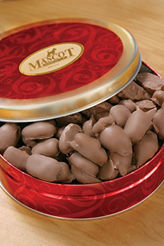 Mascot Candy and Nut Gifts since 1955 - Smooth Milk Chocolate Covered Pecans 1 Pound in Beautiful Gift Tin- Perfect for any occasion! Birthday, Easter, Mother's Day, Father's Day! No Melt Guarantee Chocolate Tin Box