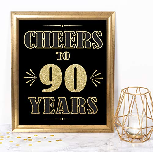 Cheers to 90 Years Party Sign - Unframed