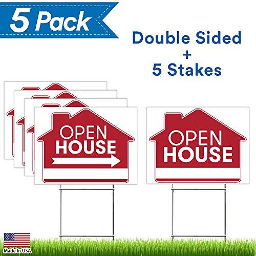 Open House Sign Bundle Kit - 5 Premium Yard Signs Bulk Pack - 18