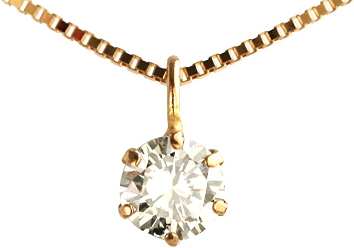 6Prongs Diamond Pendant,18kt Solid Gold Women Wedding Necklace Dainty Solitaire Diamond Necklace Rose Gold,0.2ct SI Real Diamond Necklace