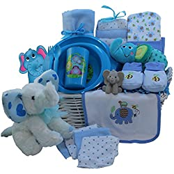 Art of Appreciation Gift Baskets Eli The Elephant Baby Gift Basket, Blue Boys