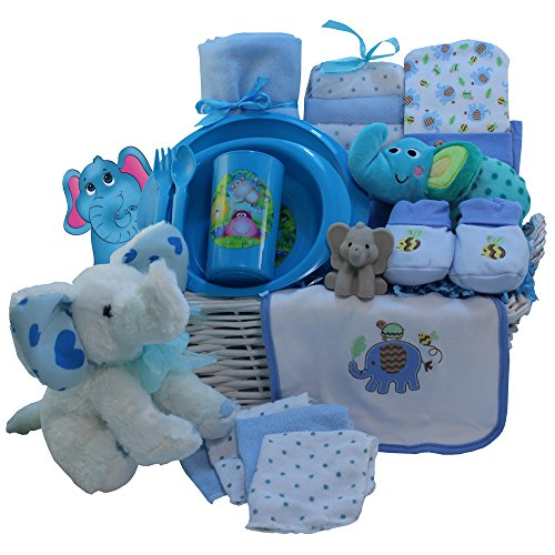 Eli The Elephant Baby Gift Basket, Blue Boys