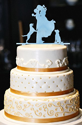 Mr. & Mrs. with Dogs Wedding Cake Topper, Glitter Wedding Cake Topper, Engagement Cake Topper, Gold Cake Topper, Gold Glitter Cake Topper (10