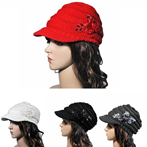 Women Hat Korean Version of The and Winter Ladies Hat Brim Sequin Applique (red, Free)